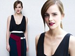 Posing up a storm! Emma Watson wows in low-cut LBD with burgundy trim and deep purple lipstick at Noah press conference