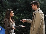 Reunion: Mila Kunis guest stars on an episode of her fiance Ashton Kutcher's show Two And A Half Men