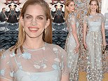 Flower power: Anna Chlumsky showed off her slim post-pregnancy physique in a floral-printed frock as she attended the premiere of HBO's Veep 3rd season at Paramount Studios in Hollywood on Monday