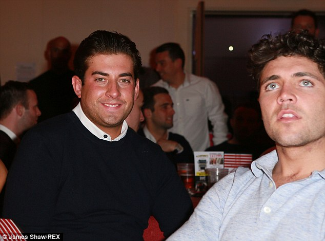 Boys night out:  James 'Arg' Argent and Tom Pearce were also one of the many spectators at the fight