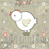 greetings card with easter eggs and one chicken