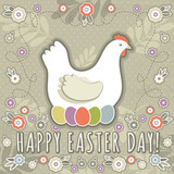 greetings card with easter eggs and one hen