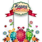 Easter eggs white background and label
