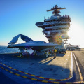 The X-47B on the deck of the USS Theodore Roosevelt (CVN-71) on Nov. 10, 2013. US Navy Photo