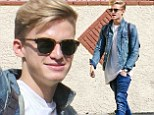 Feeling blue: Cody Simpson went with the bold double denim look on Wednesday as he arrived for Dancing With The Stars rehearsal in Hollwyood