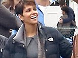 New role: Halle Berry gets to work by the gloomy bay in Marina Del Rey and films another episode of her TV series Extant, where she was joined by her co-star Goran Visnjic