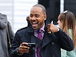Unperturbed: Scandal star Columbus Short was pictured for the first time on set following claims he hospitalised a man in bar fight