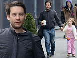 Daddy's Little Miss Sunshine! Doting father Tobey Maguire escorts his daughter Ruby around New York