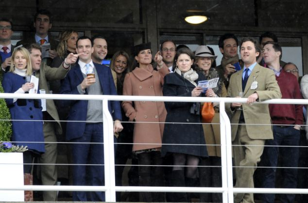 Inner circle: The Duke and Duchess of Cambridge were joined by dozens of friends in their box at Cheltenham
