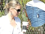 Westwood, CA - Cameron Diaz has her coffee in hand and arrives at an office building in Westwood.
