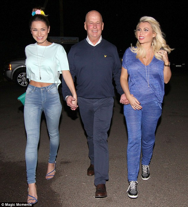 Party time: Sam and Billie Faiers were seen with their step father David Chatwood on Friday evening
