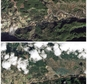 This combination of images provided by NASA shows the Oso, Wash. area on Jan. 18, 2014, top, and the same area on March 23, 2014, bottom, after a March 22 la...