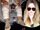 'Airport swag!' Khloe Kardashian shares photo of baby North wearing the latest from their kids fashion line at LAX