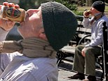 Richard Gere chugs beer on Manhattan park bench...but it's just for his homeless role in Time Out of Mind