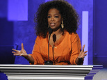 FILE - This Feb. 22, 2014 file photo shows Oprah Winfrey speaking at the 45th NAACP Image Awards  in Pasadena, Calif. Winfrey will visit eight cities this fa...