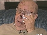 Devastated: Gary McPherson, 78, wipes away tears as he recounts being dug out of mudslide debris as he called out desperately for his wife of 40 years, who did not survive