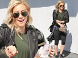 Bearing gifts! Hilary Duff rocks up to the gym in leather with a bag of homemade tasty treats