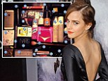 The Harry Potter star, right,  shared her beauty secrets in a snap on Twitter, saying: ¿Couldn¿t have survived today without¿¿ alongside a picture of 30 products, left