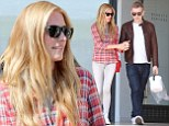 Cat Deeley steps out in white skinnies and checked shirt for shopping with hubby Patrick Kielty