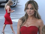 Jennifer Lopez steals the show in a skin-hugging red dress as American Idol says goodbye to Majesty Rose