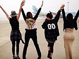 Who needs a fashion runway! Kim Kardashian posts Instagram pictures with sisters Khloe, Kendall and Kylie at LAX
