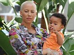 What a fetching pair! Amber Rose and her son Sebastian looked fantastic in colourful outfits as they soaked up the West Hollywood sunshine