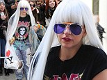 Heavy Metal Lover! Lady Gaga goes back to the Eighties with ripped high waisted glitter jeans and a sweet rock and roll tribute T-shirt to her father Joe