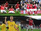Aaron Ramsey scores in the 2-0 win over Liverpool on November 2 2013, Per Mertesacker celebrates the victory against Swansea on September 28 2013, Theo Walcott scores against QPR on May 4 2013 and Olivier Giroud salutes the away crowd after scoring against Newcastle on December 20 2012