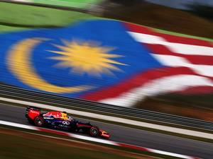 Sebastian Vettel of Germany and Infiniti Red Bull Racing drives during practice for the Malaysia Formula One Grand Prix at the Sepang Circuit in Kuala Lumpur, Malaysia