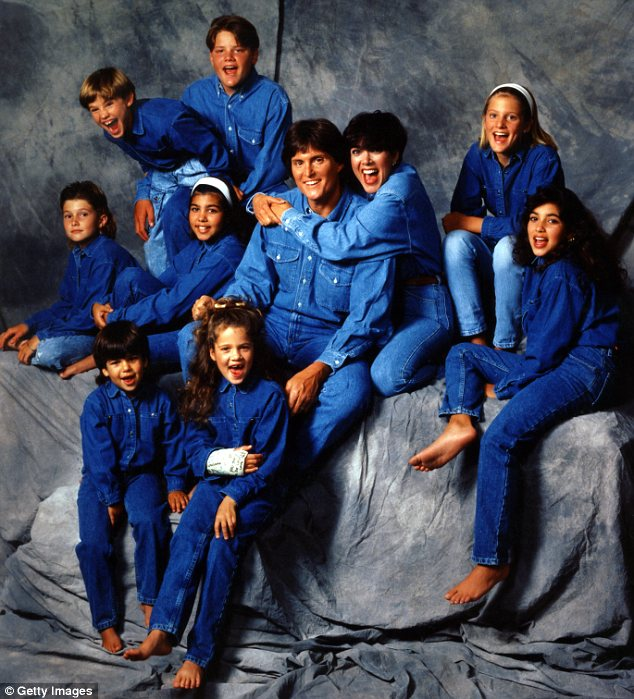 Happier times: Bruce and Kris with their kids from their previous marriages in 1991