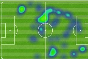 Eden Hazard heat map vs Arsenal