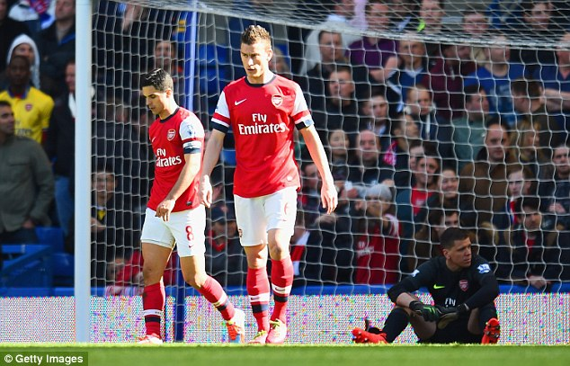 Not again: Arsenal were four goals down at half-time, just as they were at Anfield earlier in the season