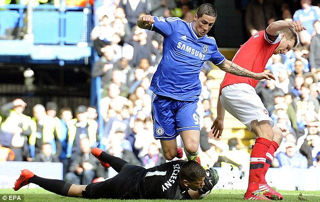 Captured: Szczesny dives at the feet of Fernando Torres as the strike slipped through