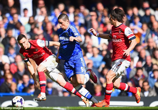 Forward: Fernando Torres drives through the Arsenal midfield in the second-half