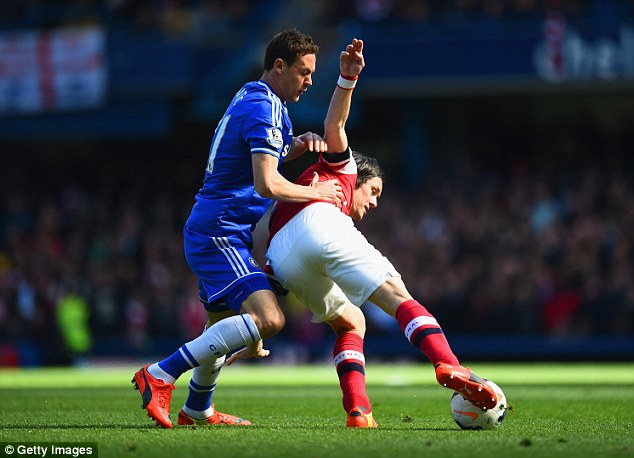 Tussle: Nemanja Matic of Chelsea and Tomas Rosicky of Arsenal battle for the ball