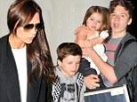 Victoria Beckham arrives in Los Angeles with her children Harper, Brooklyn, Cruz and Romeo after sharing a flight with Rihanna\n<P>\nPictured: Victoria Beckham and Cruz Beckham and Harper beckham and Brooklyn Beckham\n<B>Ref: SPL728007 280314 </B><BR/>\nPicture by: Splash News Online<BR/>\n</P><P>\n<B>Splash News and Pictures</B><BR/>\nLos Angeles: 310-821-2666<BR/>\nNew York: 212-619-2666<BR/>\nLondon: 870-934-2666<BR/>\nphotodesk@splashnews.com<BR/>\n</P>