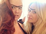 Not a good look: Lauren Conrad and Kristen Ess took the mickey out of the strong brow look on Instagram