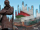 Manchester is blue: City colours cover Old Trafford and Sir Alex Ferguson's statue in our mocked-up image