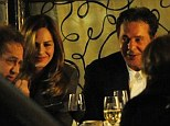 In good cheer: Charles Saatchi appears to be in good spirits as he and former TV stylist Trinny Woodall dine out with pals on Friday evening