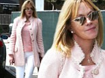 She does pink very well! Melanie Griffith shows off style in fringed coral coat and slim pins in a pair of youthful white trousers