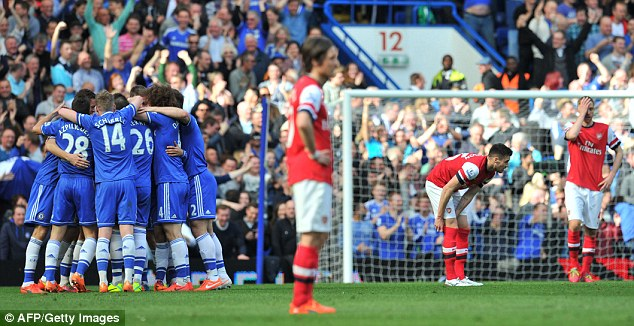 Earlier on: Just hours earlier Arsenal were losing 6-0 at Stamford Bridge to Chelsea