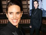 Jennifer Connelly is timelessly chic in black suit as she flashes a dazzling smile at the celebration of her new magazine cover