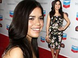 America Ferrera flashes a smile as she displays her slender figure in a pretty floral frock at the Cesar Chavez Awards