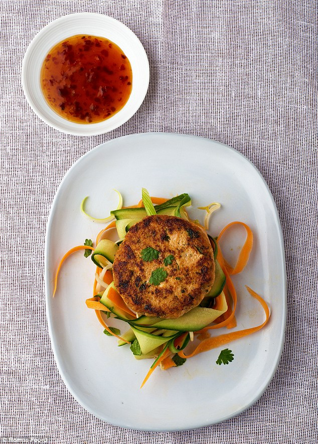 Fast Day fishcakes with Thai salad