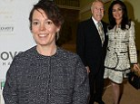 Olivia Colman looks elegant in grey and black outfit to as she leads the stars at the Broadcasting Press Guild awards