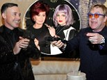 Elton John celebrates his 67th birthday in style and is joined by long time friend Sharon Osbourne