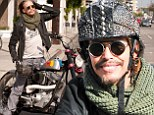 He's Back In the Saddle! Steven Tyler, 66, does his best Easy Rider impression as he rides his motorbike to lunch in Los Angeles