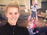 'Nothing motivates me more!' Make-up free Jessica Simpson works out in front of Eric Johnson's NFL shirt as he dotes on their two children