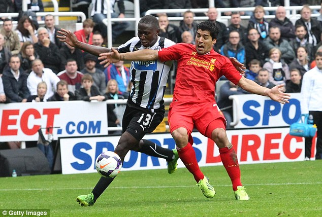King of the Kop: Suarez was pulled down by Mapou Yanga Mbiwa to earn Liverpool a penalty at Newcastle