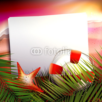Summer sunset on the  beach - vector background with copyspace